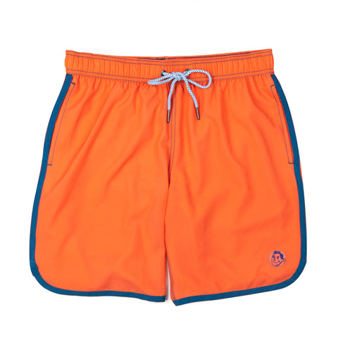 Solid Retro Stripe 4-Way Stretch Swim Trunks - Coral