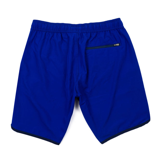 Solid Retro Stripe 4-Way Stretch Swim Trunks - Blue