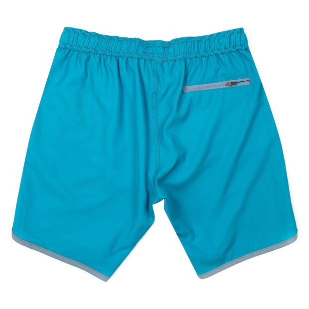 Solid Retro Stripe 4-Way Stretch Swim Trunks - Turquoise