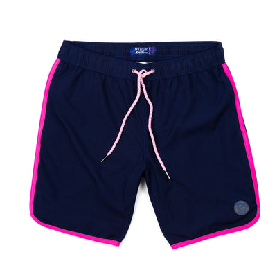 Solid Retro Stripe 4-Way Stretch Swim Trunks - Navy