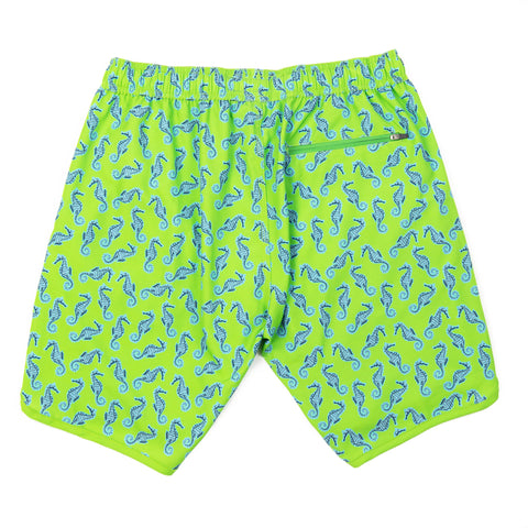Seahorse 4-Way Stretch Swim Trunks - Lime Green