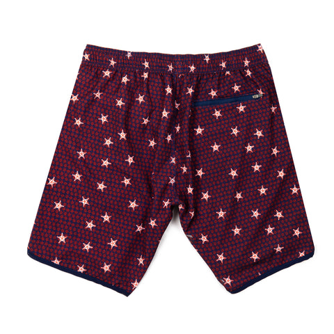 Starfish 4-Way Stretch Swim Trunks - Red, White and Blue