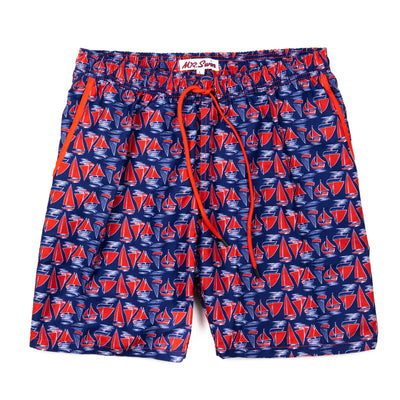 Sailboats Elastic Waist Swim Trunks - Red, White and Blue