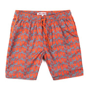 Sailboats Elastic Waist Swim Trunks - Grey and Red