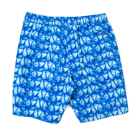 Sailboats Elastic Waist Swim Trunks - Azure Blue
