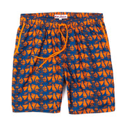 Sailboats Elastic Waist Swim Trunks - Midnight Blue and Orange