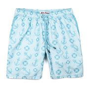 Anchors Away Elastic Waist Swim Trunks - Light Blue