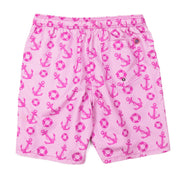 Anchors Away Elastic Waist Swim Trunks - Pink