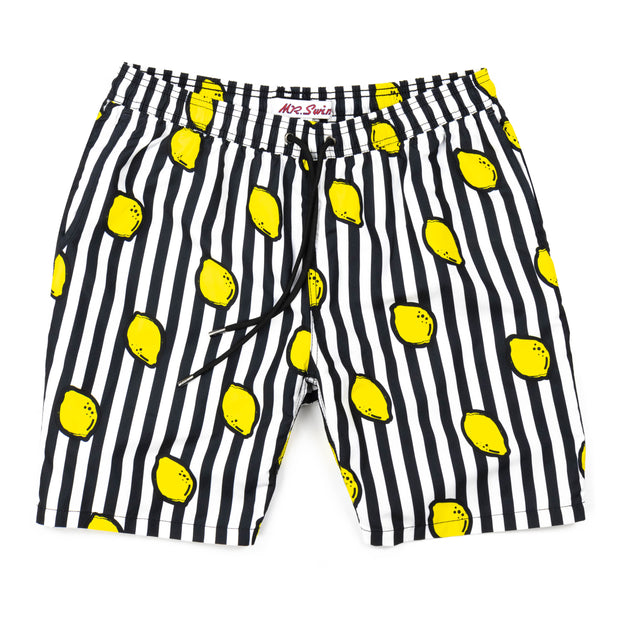 Lemon Squeeze Elastic Waist Swim Trunks - Black Stripe