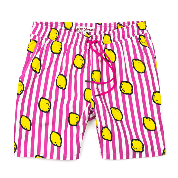 Lemon Squeeze Elastic Waist Swim Trunks - Magenta Stripe