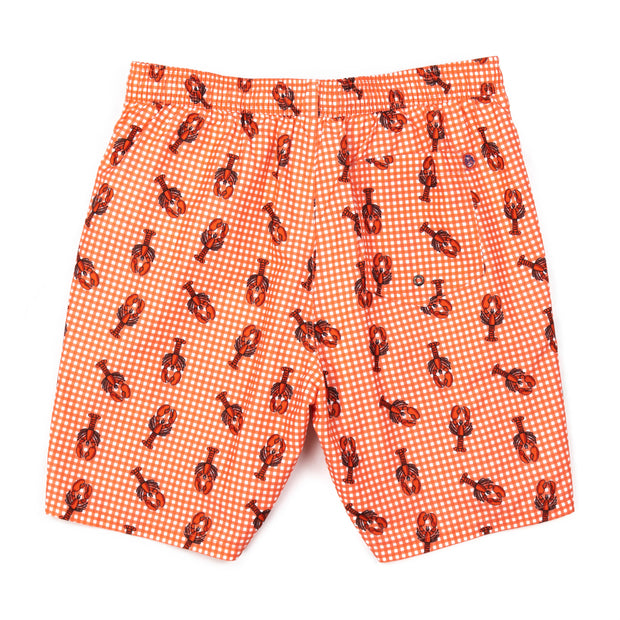 Lobsterfest Elastic Waist Swim Trunks - Sunset Red Gingham