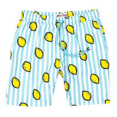 Lemon Squeeze Elastic Waist Swim Trunks - Aqua Blue Stripe