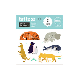 Temporary Baby Animals Tattoos for Kids front