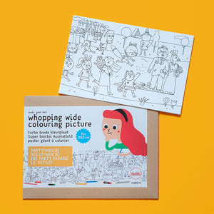 Whopping Wide Colouring Picture Party Parade unwrapping