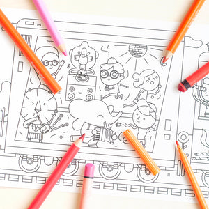 Whopping Wide Colouring Picture Train Ride close up