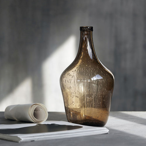 Tall Brown Recycled Glass Bottle Vase