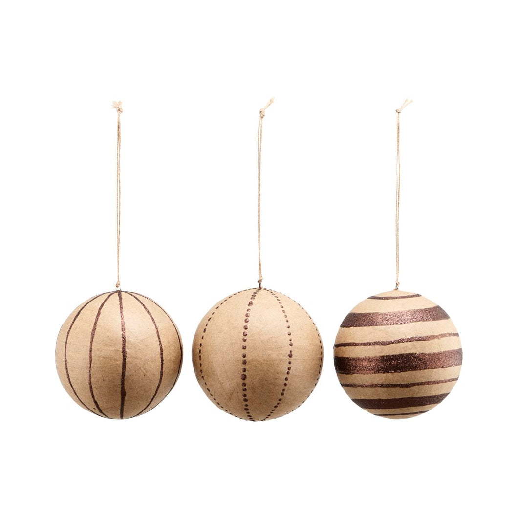 Kraft Paper Christmas Baubles Glitter Brown