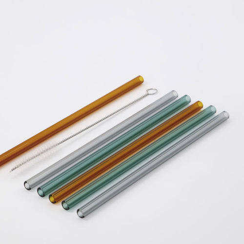 Set of 6 Glass Straws with Cleaning Brush