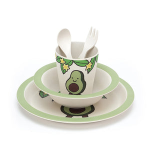 Amusable Avocado Bamboo Baby Dinner Set unwrapped