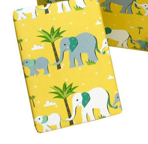 Recycled Wrapping Paper Childrens Yellow Elephants
