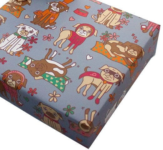Recycled Wrapping Paper Children's Pugs