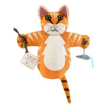 Load image into Gallery viewer, Handmade Ginger Cat Hand Puppet Organic Felt cutout