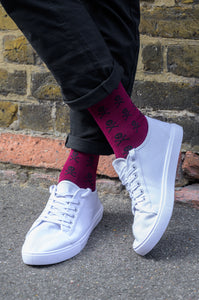 Red Skull Bamboo Socks (7-11)
