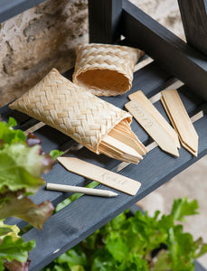Set of 18 Garden Tags in Bamboo Bag