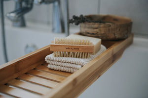 Wooden Nail Brush with Natural Bristles on tray