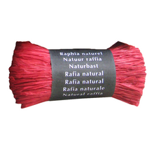 Load image into Gallery viewer, Red Raffia Natural Gift Wrapping Ribbon