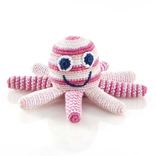 Fairtrade Crochet Octopus Rattle Pink