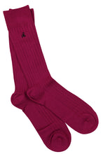 Load image into Gallery viewer, Cerise Ribbed Bamboo Socks (Size 4-7)