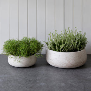 Set of 2 Cement Bowls in Stone