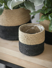 Load image into Gallery viewer, Set of 3 Jute Pots in Neutral & Black
