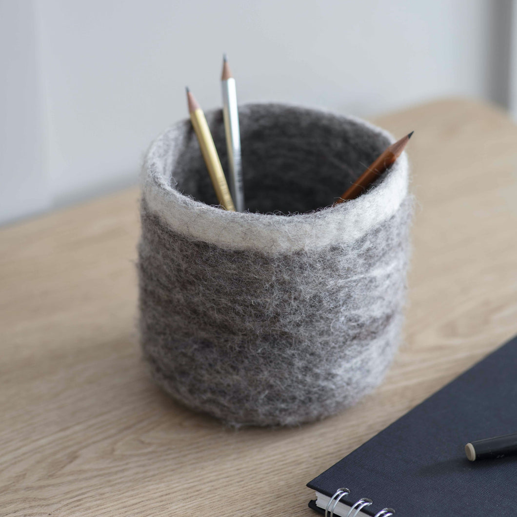 Fair Trade Felt Pen Pot in Natural