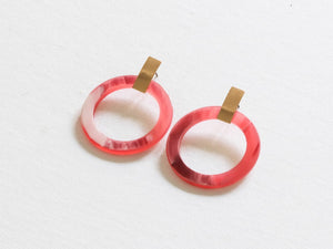 Faux Horn Recycled Resin Earrings Pink