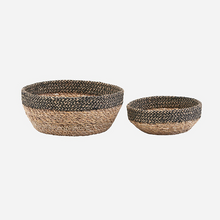 Load image into Gallery viewer, Set of 2 Jute Bread Baskets Natural & Black