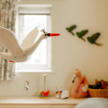 Load image into Gallery viewer, Handmade Organic Felt Flapping Swan Nursery Mobile room
