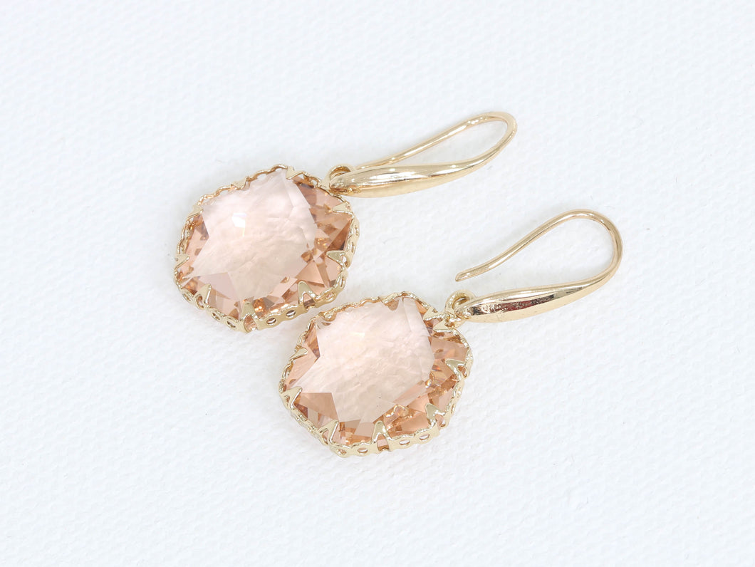 Pink Hexagon Luxe Earrings Gold Plated