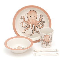 Load image into Gallery viewer, Odell Octopus Bamboo Baby Dinner Set all items
