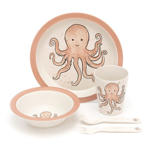 Odell Octopus Bamboo Baby Dinner Set all items