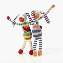 Load image into Gallery viewer, Handmade Crochet Bunny Rattle Rainbow both versions