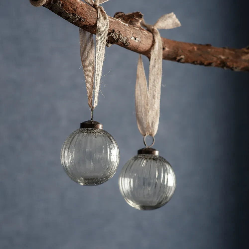 Pair of Recycled Glass Christmas Baubles Clear