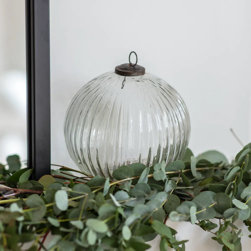 Large Recycled Glass Christmas Bauble Clear