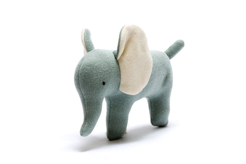 Teal Organic Cotton Elephant Soft Toy Small