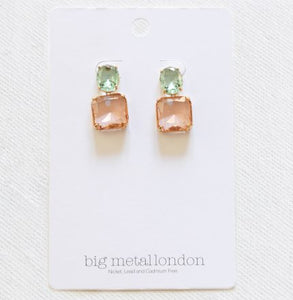 Pink Blue Stone Cut Luxe Earrings