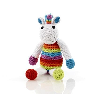 Crochet Unicorn Baby Rattle Rainbow