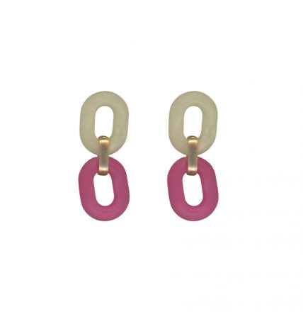 Matte Recycled Resin Link Earrings Pink