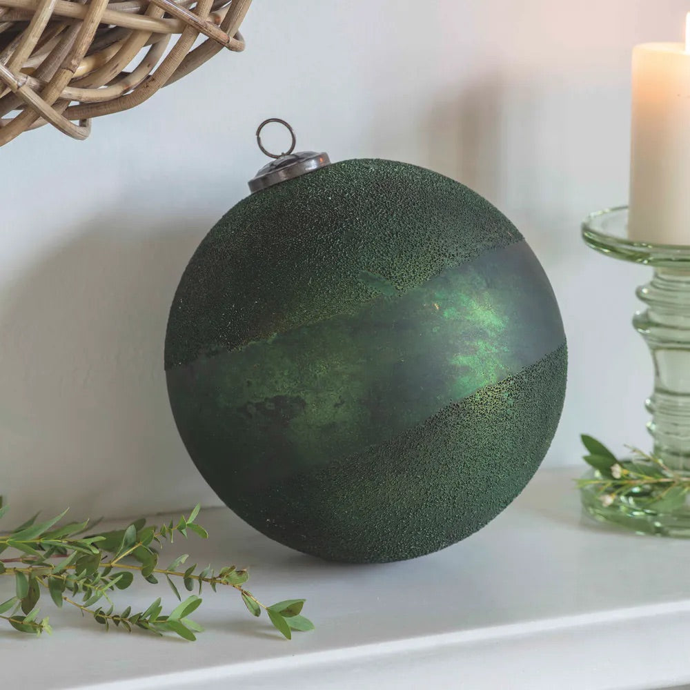 Large Recycled Glass Christmas Bauble Green
