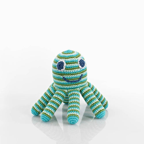 Fairtrade Crochet Octopus Rattle Blue & Green